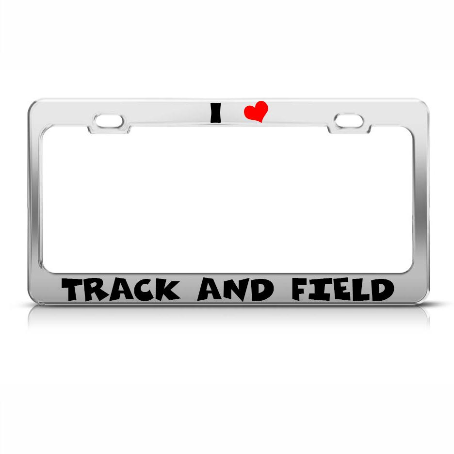 i love track and field chome metal license plate frame tag holder ebay. Black Bedroom Furniture Sets. Home Design Ideas